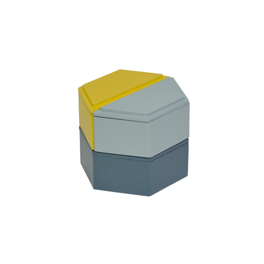 Honeycomb Stacking Boxes - Cool - Blue/Yellow
