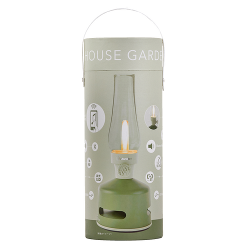 LED Lantern with Bluetooth Speaker - House Garden - Green