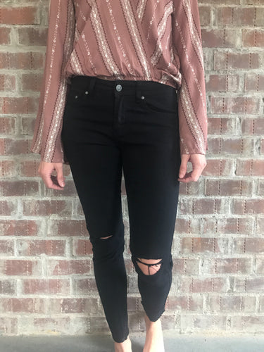 Astrid Black Ripped Knee Jeans