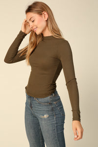 EMILY LONG SLEEVE TOP-OLIVE