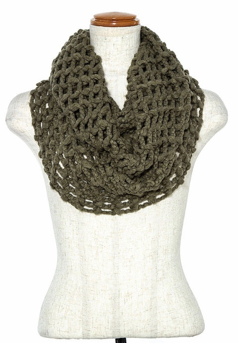 NELLIE KNIT INFINITY SCARF-OLIVE