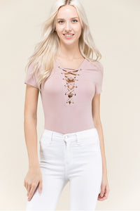 Mauve Lace-Up Bodysuit