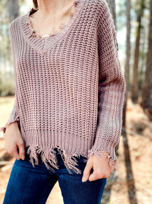 CARMEN FRAYED HEM SWEATER