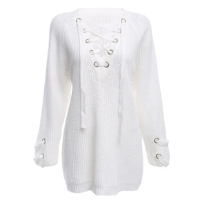 (FS) Stylish V-neck Long Sleeve Criss-cross Button Women Sweater