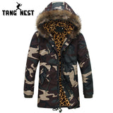 TANGNEST Fashion Camouflage Winter Coat Men  Thick Warm Long Style Parka