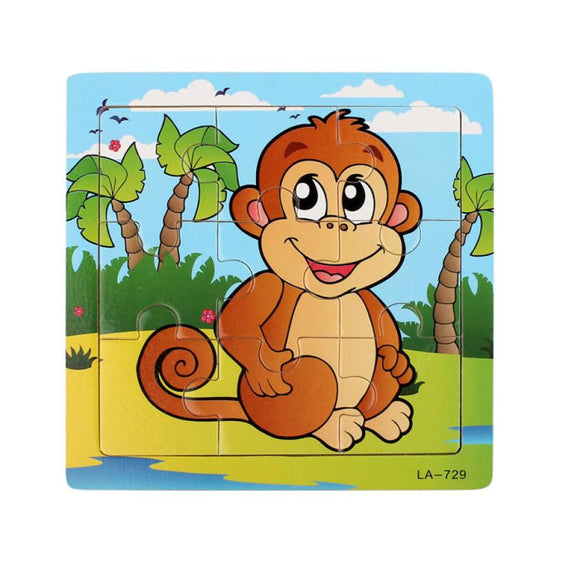 Wooden Monkey Puzzle Educational Toy Baby Kids