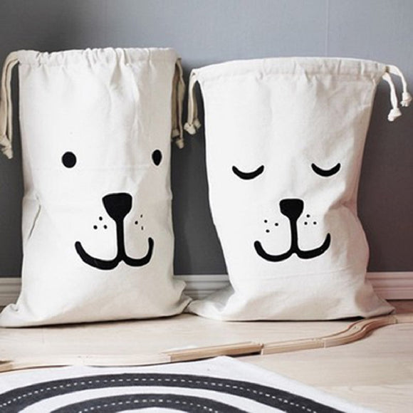 (FS)  Large Baby Toys Storage Bags Canvas Bear