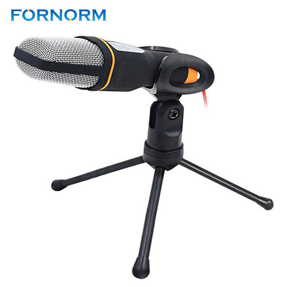FORNORM Computer or Conference 3.5mm Jack Studio Condenser Microphone Wired Mic with Staido Goodseneck Stand