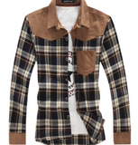 Winter shirt 2018 Fashion splicing plaid shirt