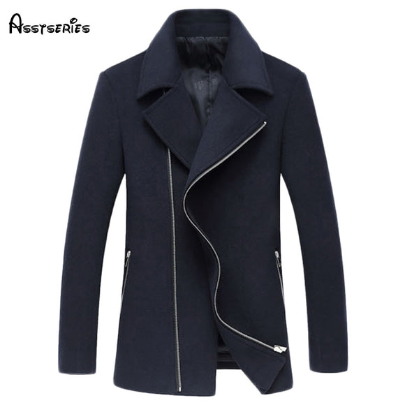 Free shipping Winter Quality zipper Slim Wool Blend