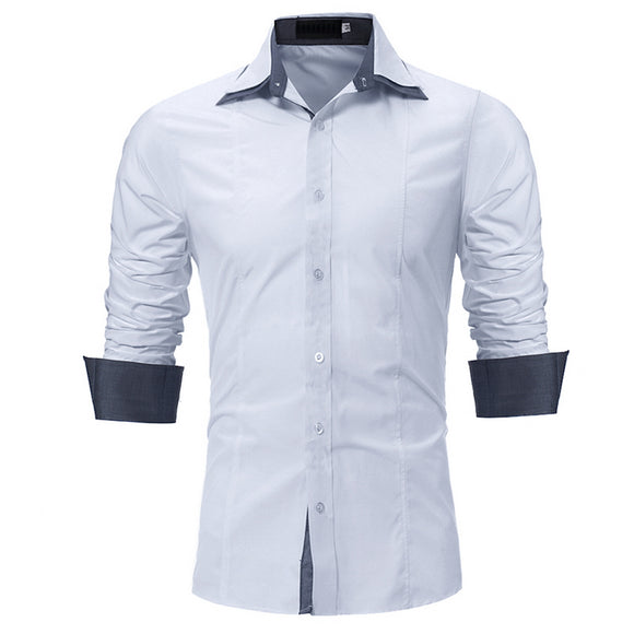 Men s Long Sleeve Shirts Fashion Slim Fit Double collar work shirt camisa