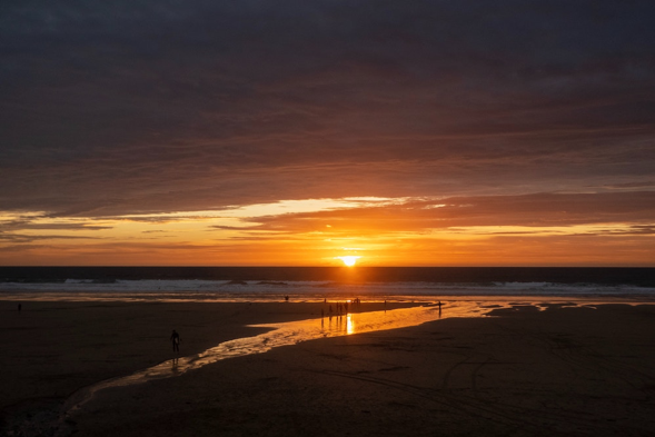 Sunset at Watergate Bay in Cornwall