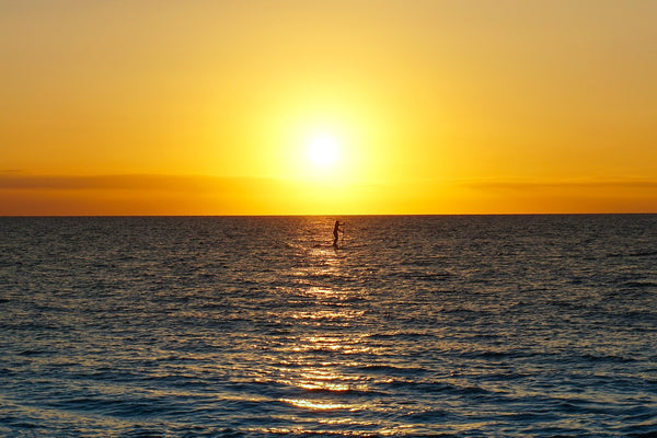 A person paddleboarding in the middle of the ocean at sunset.