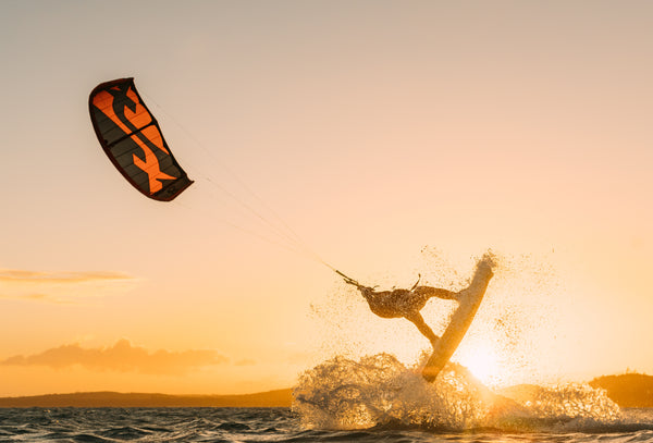 Kite surfer in the sunset