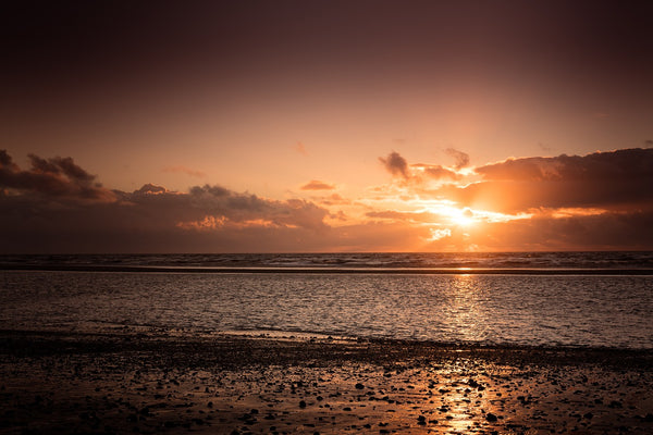 Sunset at St Anne's beach in Blackpool