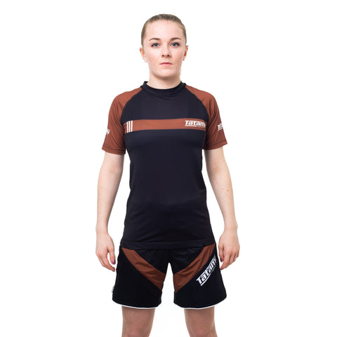 Ladies IBJJF 2020 Ranked Short Sleeve Rash Guard - Brown