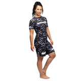 Ladies Rival Black & Camo Short Sleeve Rash Guard - Black