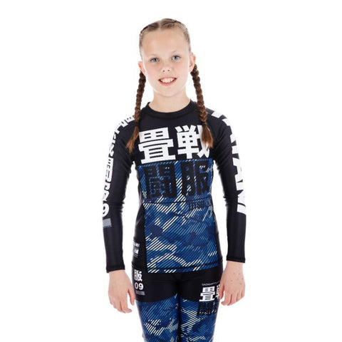 Kids Essential Camo Long Sleeve Rash Guard - Blue