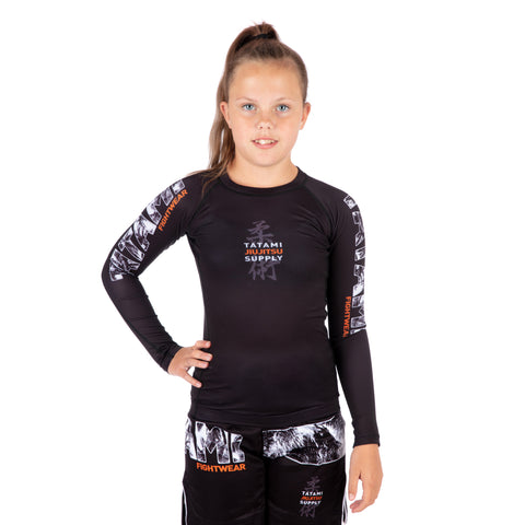 Kids Tropic Black Long Sleeve Rash Guard