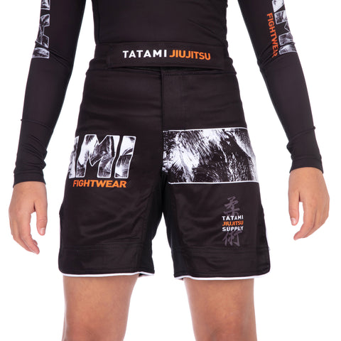Kids Tropic Black Grappling Shorts