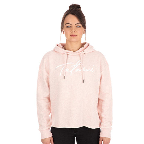 Ladies Cropped Hoodie - Heather Pink