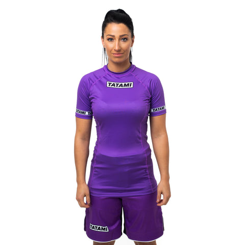 Ladies Dweller Short Sleeve Rash Guard - Purple