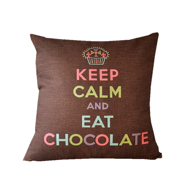 Keep Calm And Eat Chocolate - Decorative Cushion Cover