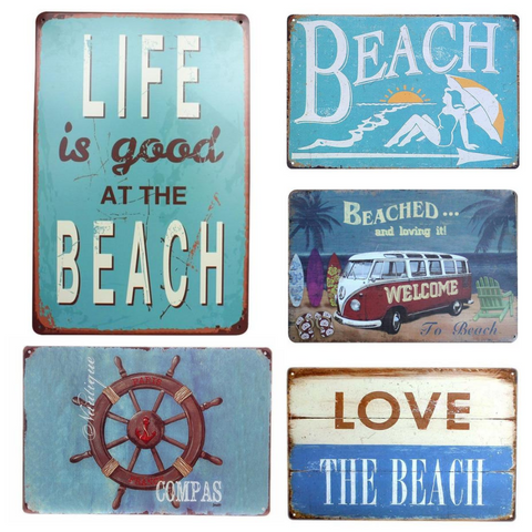 Beach Themed Decor - Decorative Metal Sign Collection