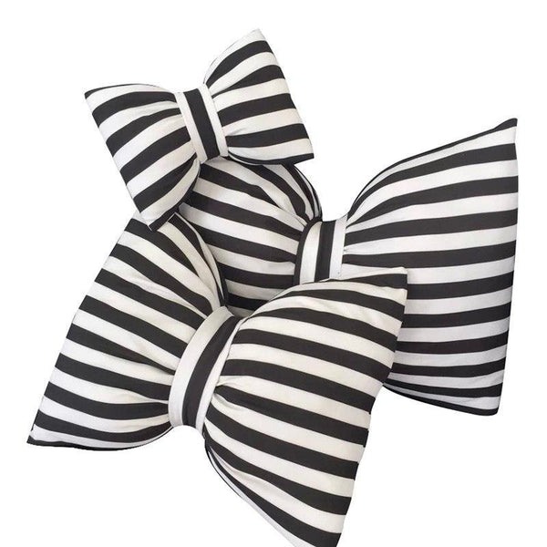 Black & White Striped Bows Decorative Pillow Collection