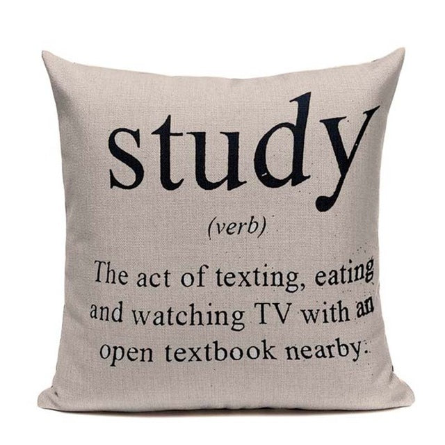Study (Verb) - Decorative Cushion Cover