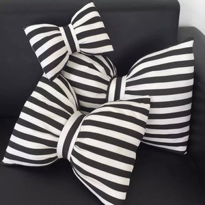Black & White Striped Bows - Decorative Pillow Collection