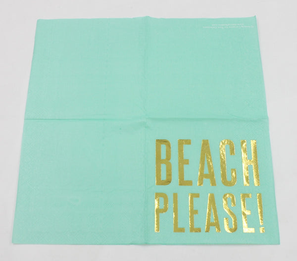 Beach Please! - Decorative Cocktail Paper Napkin Open Full View