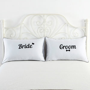 Bride and Groom White Pillowcase cover cute couple gifts