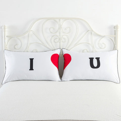 I Heart U white pillowcase cover cute couple gifts