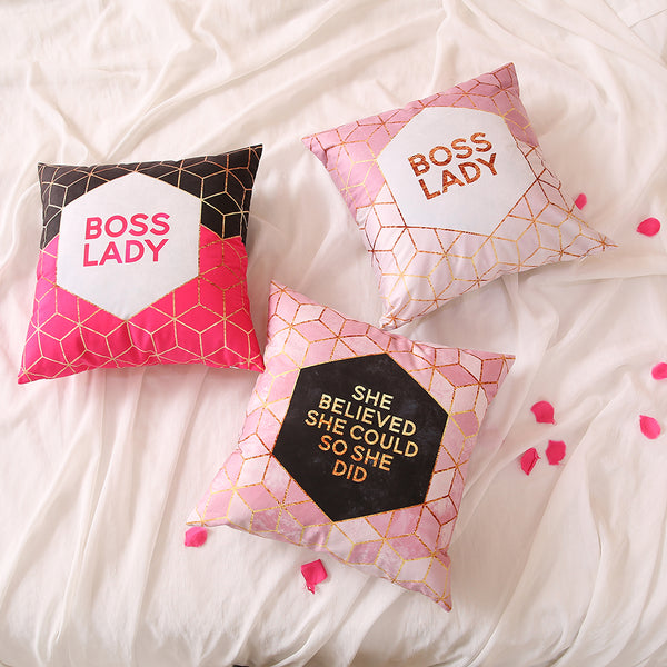 Boss Lady Black & Pink - Decorative Cushion Cover
