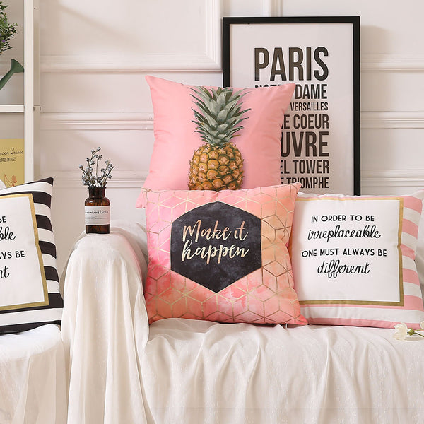 Make It Happen Pink - Decorative Cushion Cover