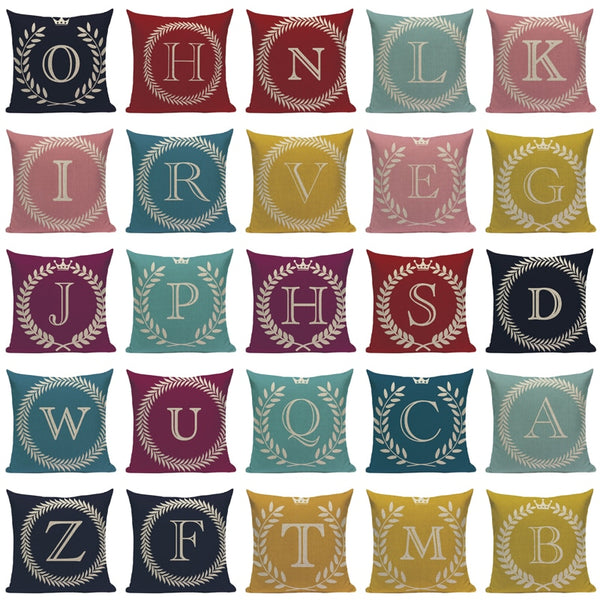 Colorful Initials Decorative Cushion Cover Collection