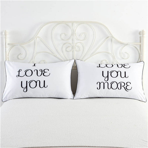 I Love You, Love You More white pillowcase cover cute couple gifts