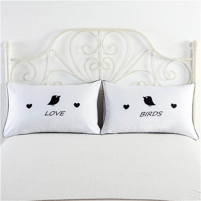 Love Birds white pillowcase cover cute couple gifts