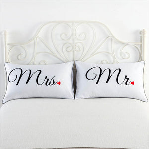Mr & Mrs Hearts white pillowcase cover cute couple gifts