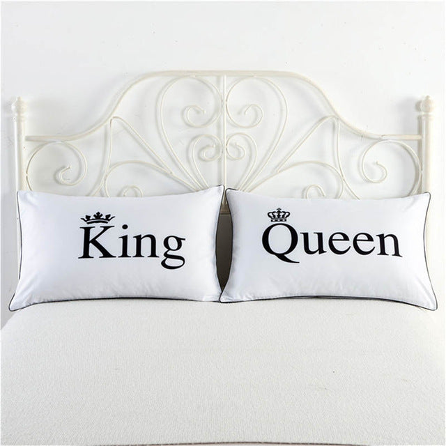 King & Queen white pillowcase cover cute couple gifts