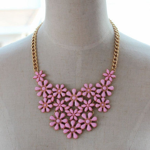 Statement Flower Design Pink Stone Necklace