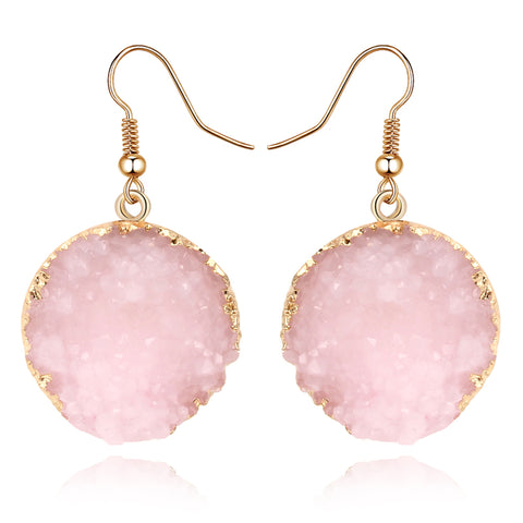 Pink Resin Dangle Earrings