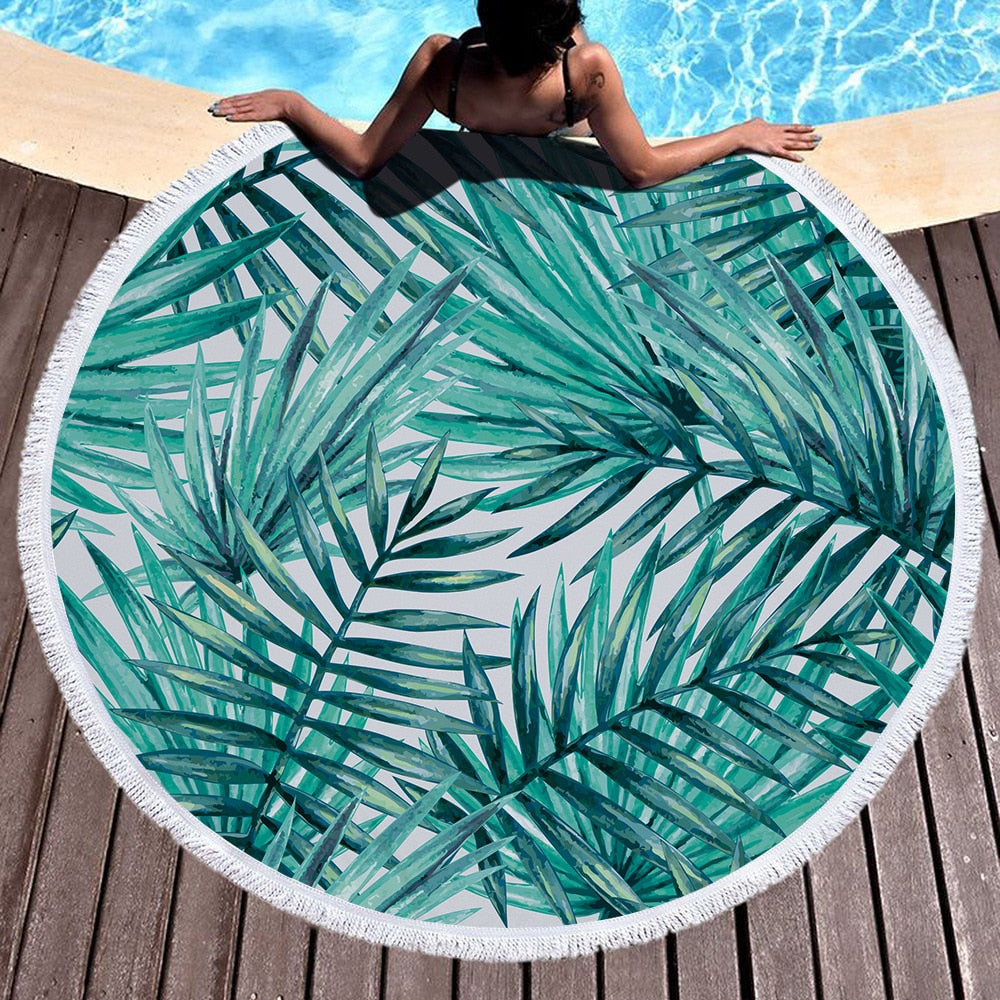 Tropical Teal Leaves Round Beach Towel