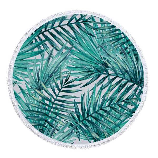 Tropical Leaves Round Microfiber Beach Towel