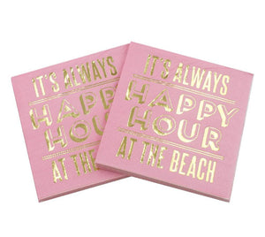 It's Always Happy Hour At The Beach - Funny Cocktail Paper Napkin