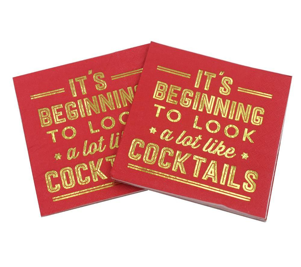 It's Beginning To Look A Lot Like Cocktails - Funny Cocktail Paper Napkin