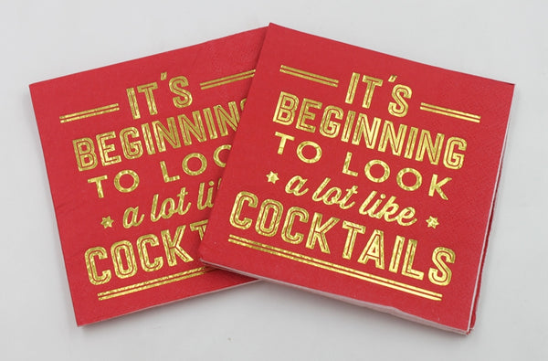 It's Beginning To Look A Lot Like Cocktails - Gold Foil Paper Napkin