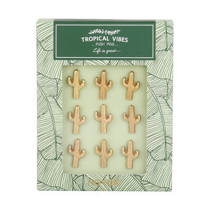 Cactus Gold Metal Push Pins