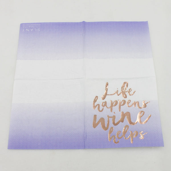 Life Happens Wine Helps - Funny Cocktail Paper Napkin Open Full View